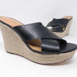 J Crew Womens Wedges Size 9.5 Black Open Toe Platf